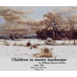 Children in snowy landscape by William Mason Brown