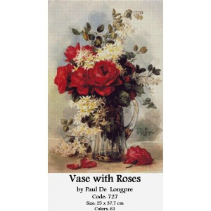 Vase with Roses by Paul de Longpre