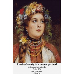 Russian beauty in summer garland by Konstantin Makovsky