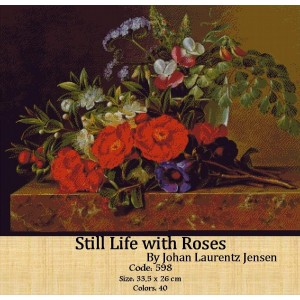 Still Life with Roses by Johan Laurentz Jensen