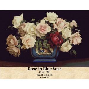 Rose in blue Vase
