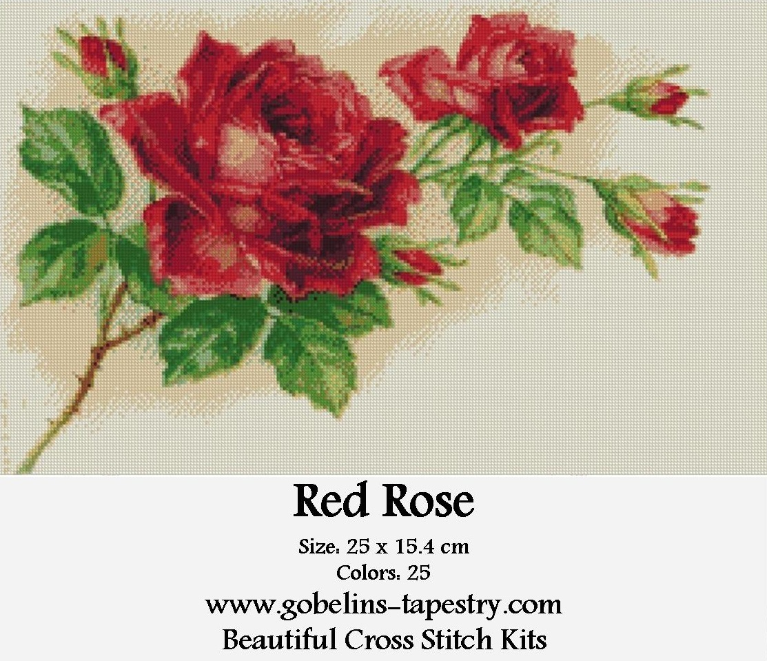 Free cross stitch kit – Red Rose