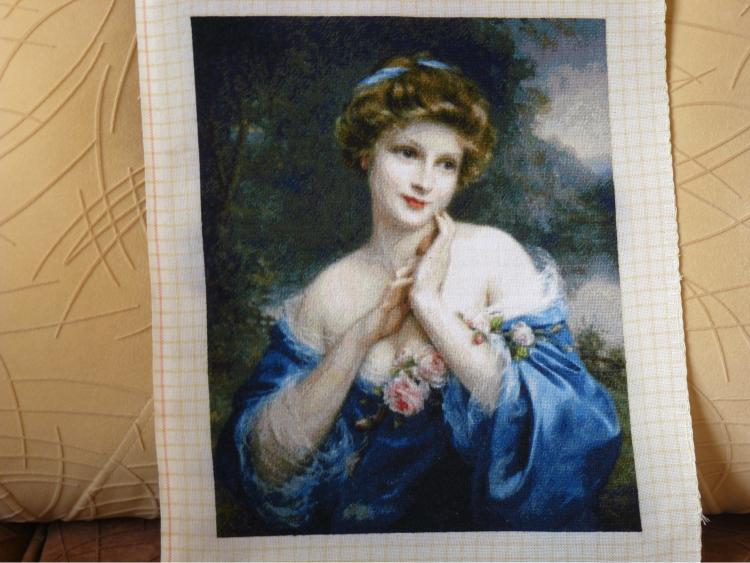 Completed cross stitch kit – A Summer Rose by Francois Martin Kavel