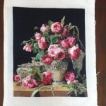 Completed cross stitch tapestry – Roses in Silver Bowl by Ferdinand George Waldmuller