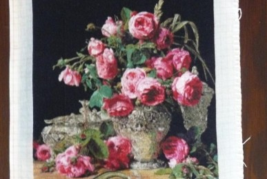 Roses in Silver Bowl by Ferdinand George Waldmuller