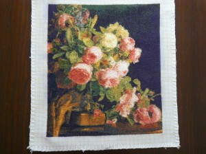 Completed needlepoint tapestry - Bouquet of Roses by Ferdinand George Waldmuller