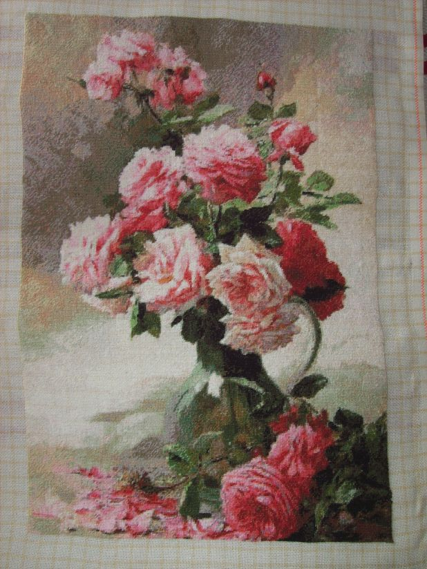Completed cross stitch tapestry – Roses