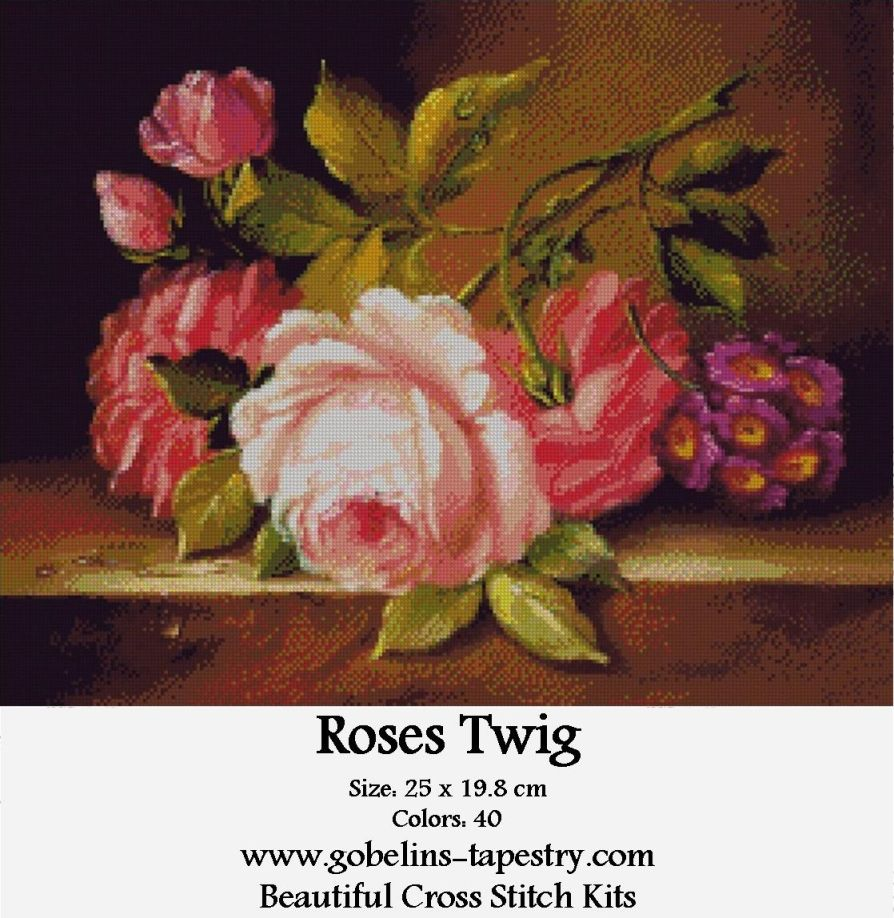 Free Counted Cross Stitch Charts – Roses Twig