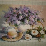 Counted Cross Stitch Tapestry – Completed – Lilacs
