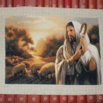 Completed cross stitch tapestry – Christ the shepherd